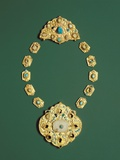 Pieces of a Gold Necklace with Grey Chalcedony  Turquoise  and Glass
