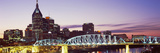 Skylines and Shelby Street Bridge at Dusk  Nashville  Tennessee  USA 2013