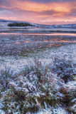 Snow Dusted Sunset and Sagebrush at Hayden Valley