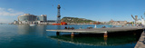 Pier on the Sea with World Trade Centre in the Background  Port Vell  Barcelona  Catalonia  Spain