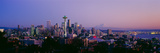 High Angle View of a City at Sunrise  Seattle  Mt Rainier  King County  Washington State  USA 2013