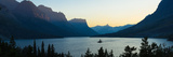 Sunset over St Mary Lake with Wild Goose Island  Us Glacier National Park  Montana  USA