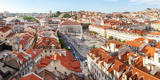 High Angle View of the Rossio Square  Lisbon  Portugal