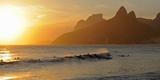 Surfers at Sunset on Ipanema Beach  Rio De Janeiro  Brazil