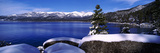 Lake with a Snowcapped Mountain Range in the Background  Sand Harbor  Lake Tahoe  California  USA
