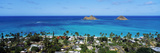 High Angle View of a Town at Waterfront  Lanikai  Oahu  Hawaii  USA