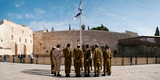 Israeli Soldiers Being Instructed by Officer in Plaza in Front of Western Wall  Jerusalem  Israel