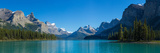 Maligne Lake with Canadian Rockies in the Background  Jasper National Park  Alberta  Canada