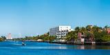 Motorboats on Intracoastal Waterway Looking Towards Boca Raton  Florida  USA