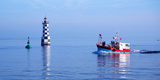 Les Perdrix Lighthouse and Fishing Boat at Loctudy  Brittany  France