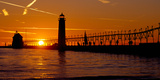 Grand Haven Lighthouse at Sunset  Grand Haven  Michigan  USA