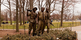 The Three Soldiers Bronze Statues at the Mall  Washington Dc  USA