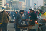 Muslim Chinese Uyghur Minority Food Vendors Selling Food in a Street Market  Pudong  Shanghai