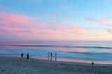 Tourists on the Beach at Sunset  Santa Monica  California  USA