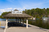 Town Dock and Cottages at Port Carling  Ontario  Canada