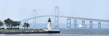 Goat Island Lighthouse with Claiborne Pell Bridge in the Background  Newport  Rhode Island  USA