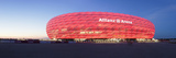 Soccer Stadium Lit Up at Dusk  Allianz Arena  Munich  Bavaria  Germany
