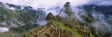 High Angle View of an Archaeological Site, Inca Ruins, Machu Picchu, Cusco Region, Peru Papier Photo