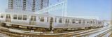 Train on Railroad Tracks  Evanston  Cook County  Illinois  USA