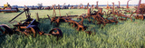 Old Farm Equipment in a Field  Kansas  USA