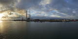 Silhouette of Chimneys of the Poolbeg Generating Station at Dawn  River Liffey  Dublin Bay