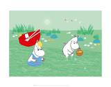 Moominmama and Snorkmaiden in the Water Reproduction d'art par Tove Jansson