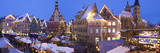 Christmas Market with the Old Town Hall and the St Dionysius Church at Dusk