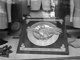 1940s 1945 Plaque of the War Veterans Honorable Discharge Button Insignia in Store Window