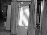 1950s Voting Booth Machine with Curtain