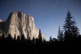 Night View of El Capitan  Illuminated by a Full Moon