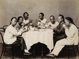 Group of Young Chinese Men Having Lunch