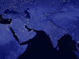 Night Time Satellite View of the Middle East and India