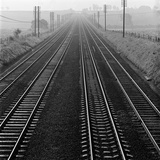 Railway Track  Hertfordshire  an Elevated View of Four Parallel Railway Tracks