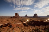 Night View of Monument Valley under the Light of a Full Moon