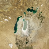 Satellite View of the Aral Sea in 2008  with the 1960 Shoreline Super-Imposed