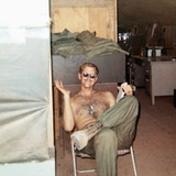Snapshot of Vietnam War Soldier Relaxing on Base  Ca 1970