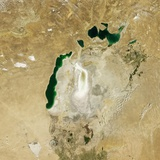 Satellite View of the Aral Sea in 2009 with the 1960 Shoreline Super-Imposed