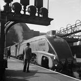 Flying Scotsman  View of the Train in 1948 with a Man in a Trilby Hat Looking at the Engine