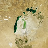 Satellite View of the Aral Sea in 2011  with the 1960 Shoreline Super-Imposed