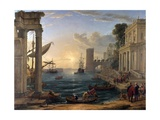 Seaport with the Embarkation of the Queen of Sheba Giclée par Claude Lorrain