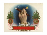 Cigar Box Label with Female Hand Holding a Match