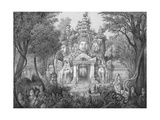19C Print of the Elephant Gateway with Khmer Buddhists at Temple of Angkor Thom