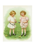 Illustration of Little Girls with Easter Eggs