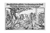 16th Century Print of People Burning Three Witches Alive