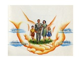 American Nuclear Family Protected by Hands