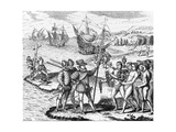 Etching of Spanish Explorers and Indigenous People