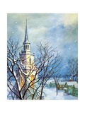 Church Steeple and Small Town at Christmas