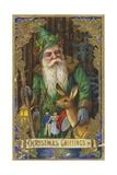 Christmas Greetings Postcard with Father Christmas