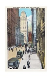 Wall Street Looking West  New York City Postcard