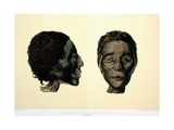 Color Lithograph Showing Face and Profile of Female Mummy
